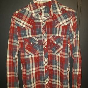 Red, white and blue plaid button down